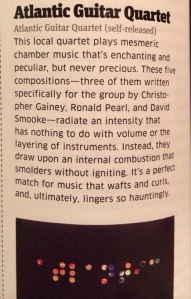 Atlantic Guitar Quartet Review Baltimore Magazine Feb 2014
