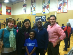 Photo: Peabody Faculty (L-R) Marian Hahn, Rachel Choe, Anthony McGill and Daniel Trahey, with student Ny'Asia Palmer.