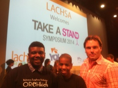 Jonah Lassiter, Joseph Wilkerson, and Daniel Trahey at the Symposium. Lassiter and Wilkerson were selected by interview and audition to participate in a leadership forum and to play with members of the LA Philharmonic and the Simon Bolivar Orchestra